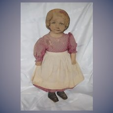 """Old Doll Large Cloth Printed Face Wonderful 25"""" Tall Dressed"""