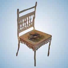 Old Miniature Gilt Metal Chair Dollhouse Doll