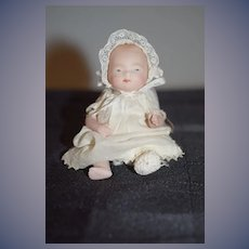 Antique Doll Grace S. Putnam All Bisque Jointed W/ Tag Miniature Dressed