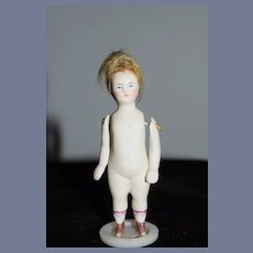 Antique Doll Miniature All Bisque Jointed Arms W/ Fancy Gold Shoes Pink Bows Dollhouse