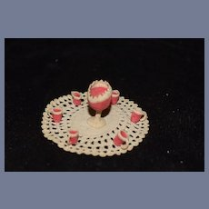 Old Doll Miniature Crochet Set Punch Bowl W/ Glasses Unusual