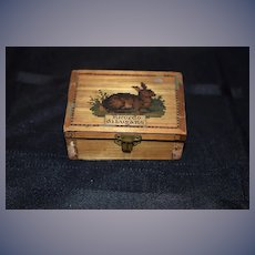 Old Miniature Litho Block Set Puzzle Scene In Wood inlaid Box Ricordo Dilugano Doll Display Rabbit