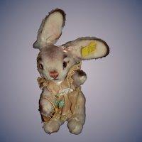 Vintage Steiff Bunny Rabbit W/ Button Tag 461700 Dressed W/ Easter Basket Glass Eyes