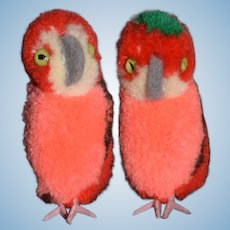 Vintage Parrot Steiff 7484/05 Twins Button Tag Two Birds Miniature
