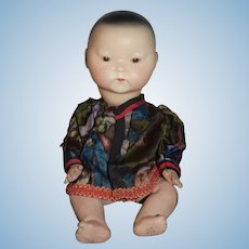 Old Bisque Doll Oriental Glass Eyes with Composition Body