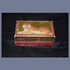 Old English Doll Trunk Matthew Rice Hinged Lion Tiger Box Miniature