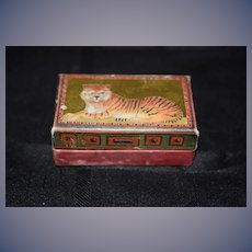 Old English Doll Trunk Matthew Rice Hinged Lion Tiger Box Miniature