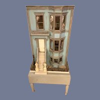 Wonderful Old Dollhouse Doll Miniature Row House Wood Glass Windows