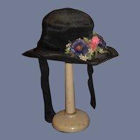 Old Black Wire Brim Woven Doll Hat Bonnet Flowers Sequins