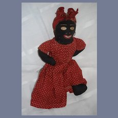 Old Black Cloth Doll W/ Painted Features Wonderful