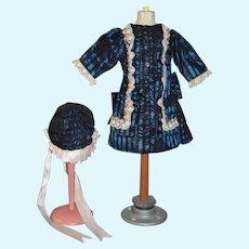 Wonderful Doll Dress & Matching Bonnet French Market Hand Made Gorgeous