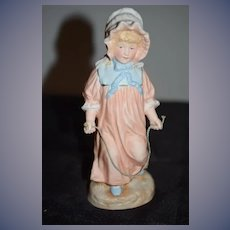 Old Heubach Piano Baby Girl w/ Jump Rope SWEET! Bisque Doll Figurine