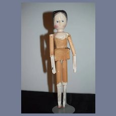 Antique Doll Wood Grodnertal Large Jointed Carved Pegged