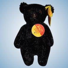 Vintage Miniature Steiff Teddy Bear Jointed Mohair 0208/10 Black Bear W/ Button Tag Chest Tag