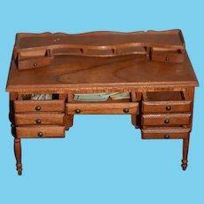 Vintage Artist Doll Miniature Wood Desk W/ Working Drawers Dollhouse