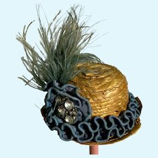 Vintage Doll Straw Hat Bonnet Feathers Rhinestone Fancy Miniature