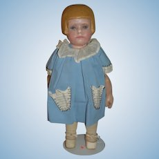 Old Martha Chase Doll Oil Cloth Doll Bobbed Hair Style