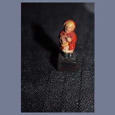 Old Miniature Little Red Riding Hood Doll Statue Dollhouse Wonderful