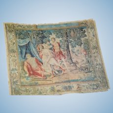 Sweet Miniature Doll Rug or Wall Hanging Two Dollhouse Textile Roman Scenes