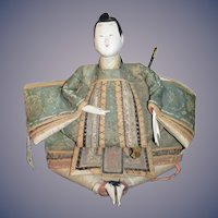 Old Doll Unusual Oriental Warrior Egg Shell Large Sitting Doll