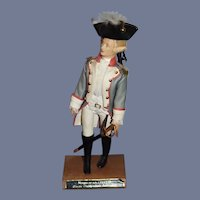 Marquis De LA FAYETTE Revolutionary War Soldier In Original Outfit W/ Sword on Stand Historical Figure