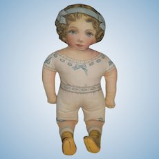 "Vintage Printed Cloth Doll Sweet 23"" Tall"