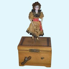 Antique Bisque Doll Miniature Automaton Wind up Mechanism Music Box Dancing Doll Gorgeous