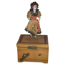 Antique Bisque Doll Miniature Automaton Wind up Mechanism Music Box Dancing Doll Gorgeous