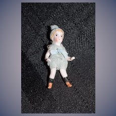 Antique Doll Miniature Doll All Bisque Jointed Dollhouse Original Factory