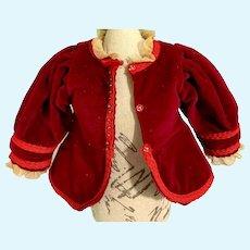 Vintage Doll Velvet Jacket Lace Trim Fashion Doll French Market