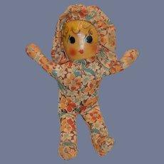 Vintage Doll Maud Tousey Fangel Oil Cloth Doll W/ Bonnet