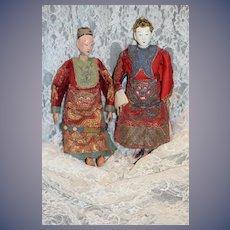 Antique Doll Oriental Opera Doll Set Pair Original Clothes