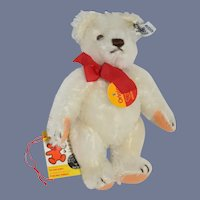Vintage White Steiff Teddy Bear Jointed Miniature 0203/18 W/ Button tags and chest tags
