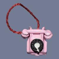 Vintage Doll Miniature English Metal Telephone Sweet Dollhouse