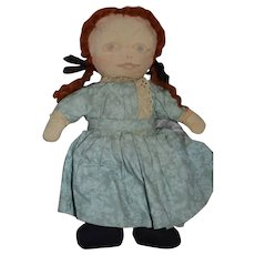 Old Cloth Doll Sweet Unusual Painted Features