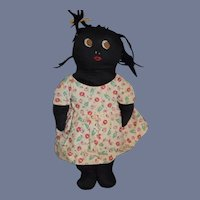 Old Black Cloth Doll Sewn on Features Side Glancing Eyes