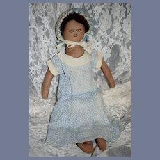 Old Unusual Black Cloth Doll Dressed Sweet