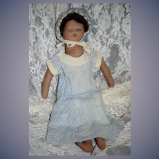 Old Unusual Black Cloth Doll Dressed Sweet