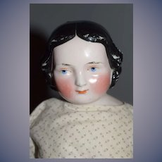 Antique China Head Doll Unusual Face Smiling Early