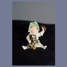 Old Doll Figurine Miniature Doll W/ Dog Dollhouse