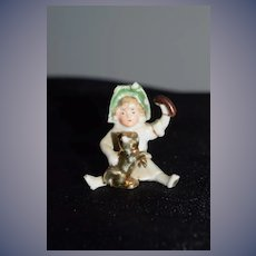 Old Doll Figurine Miniature Doll W/ Dog Dollhouse
