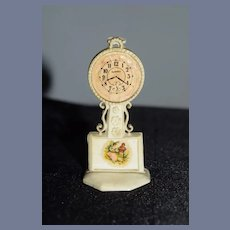 Old Fancy Doll Miniature Dollhouse Clock Celluloid