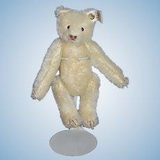 Vintage Steiff Mohair White Bear Jointed EAN 0002994 W/ Button Tag Snap A Part Bear