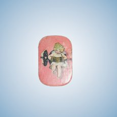 Old Doll Miniature Paper Litho Box W/ Doll Necklace Adorable