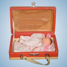 Old Doll Miniature All Bisque Baby inside Miniature Doll Suitcase