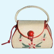 Vintage Doll Miniature Straw Embroidery Purse