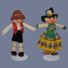 Old Felt Doll Set Pair Doll's Sweet Cloth Doll