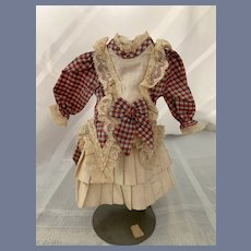 Wonderful Doll Dress Fancy Plaid and Lace French Market