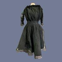 Gorgeous Old Black Lace Doll Dress Fancy Back Fashion Doll