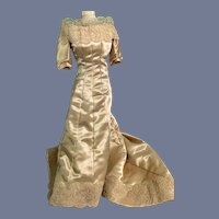 Wonderful Old Satin Lace Doll Dress Gown W/ Train Fashion Doll